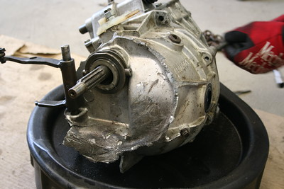 Bent input shaft and destroyed bell housing.