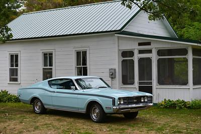 Car at the cabin.