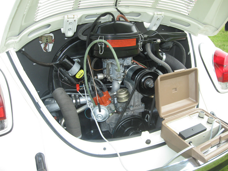 """Completely restored engine, debuted at the Litchfield BugIn, Litchfield Connecticut. All components are complete and correct, down to the 'change oil in filter' label in german. All air shrouding was removed, sand blasted, primed and repainted with Glasurit L90D VW """"grau schwarz"""" (Grey-Black.)"""