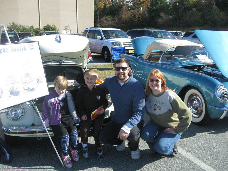 Miranda (5), Alex (8), myself and Sarah with the Beetle in an vintage 'all makes' competition. Amazingly, the Beetle BEAT the beautiful 1954 Corvette behind us in the picture, which led to some pretty sore words from the owner. But the show was 'people's choice' and as I frequently point out at those events, more people have owned and loved a Beetle than have ever set foot in a Porsche or Corvette. 'People's Car' indeed.