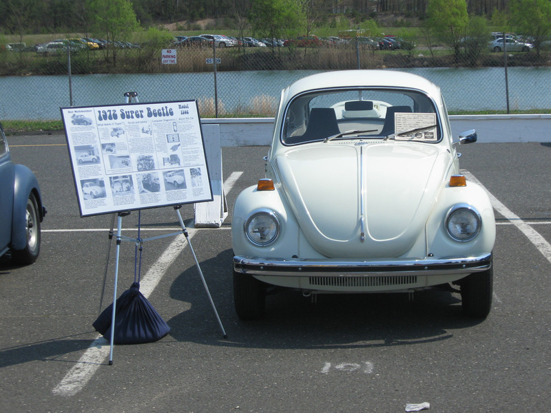 In competition, Englishtown New Jersey. Placard with the history of the vehicle, and details of the uniqueness of the model was included and pushed the car over the top to first in class against stiff competition. No one does a stock restoration on Super Beetles, so that alone made the work unique.