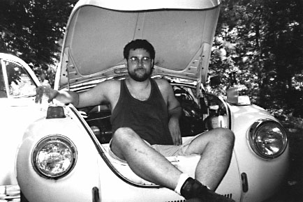 1972 VW Super Beetle in its earliest stage of tear down, summer 2000. At the time we were in a condo; no place to work! So a kindly friend from church loaned me her garage. This was not such a good thing; it was 20 minutes away, and if something isn't in my face I don't work on it. So I didn't much.