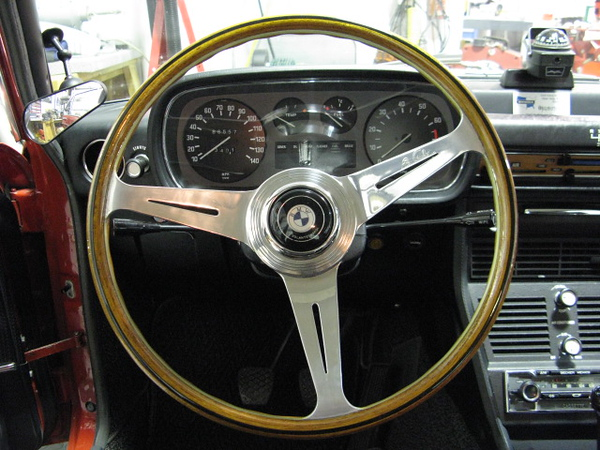 My friend, Jim S., who has a collection of steering wheels had this original BMW 2000CS wheel hanging in his garage until I talked him out of it. The horn contact was a reverse of what was required in the Bavaria but I was able to reconfigure hardware to work.