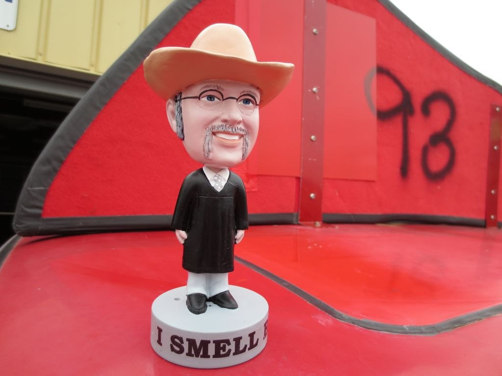 B.S. Tech Inspection. This was our bribe - a bobble head of Chief Judge Phil.