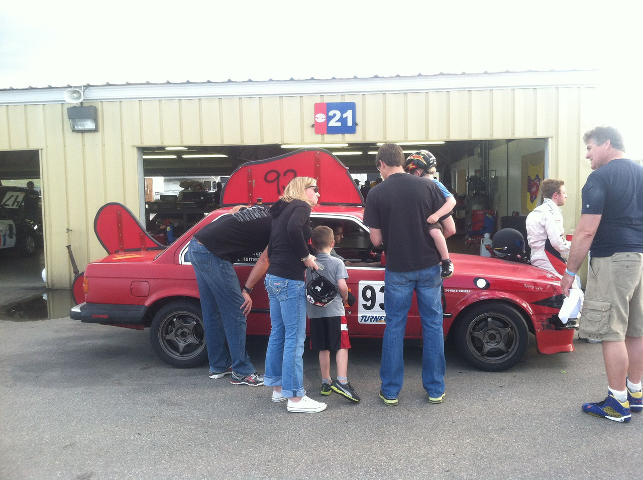 Our fans gather around the car after Saturday's racing.