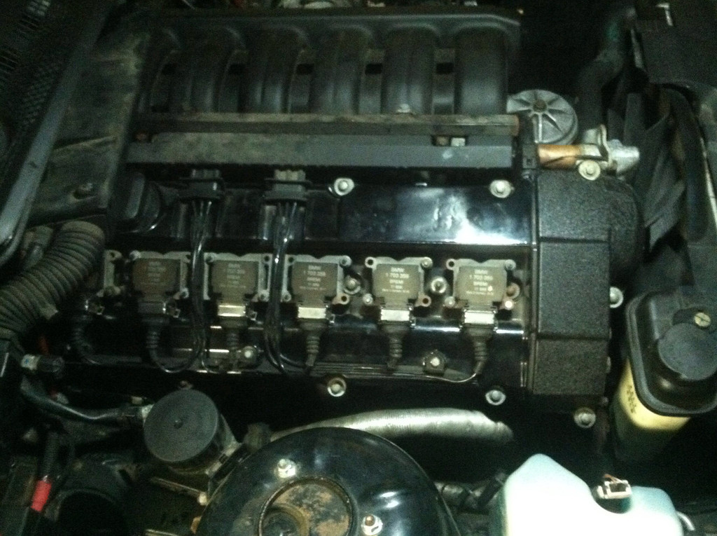 New M50 powder coated valve cover in place and coils reinstalled.