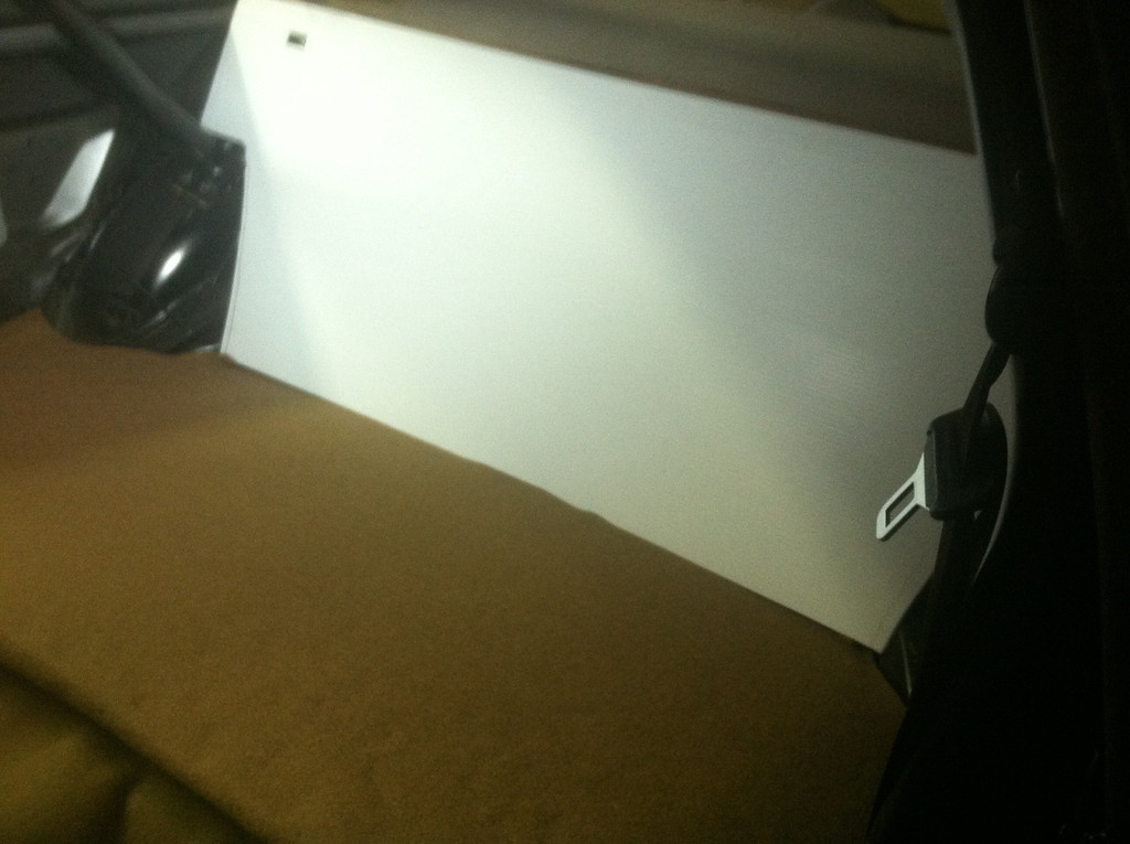 Seatback panel cut and shaped to fit. And bottom panel installed.