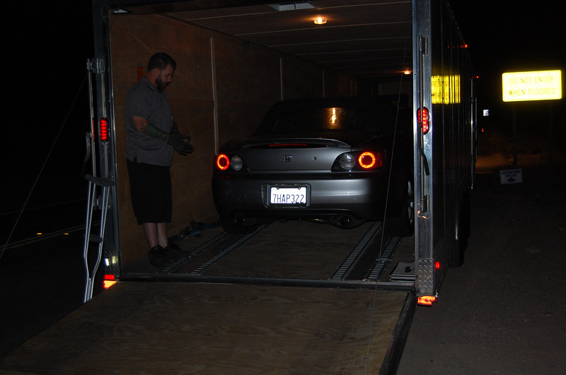 S2000 being unloaded at my place in Tucson, after a quick transport from Woodland Hills, CA.