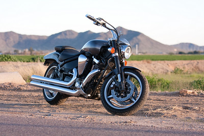 """2004 Yamaha Roadstar Warrior with DG Hard Krome 3"""" Big Straights Exhaust. Shot with Canon 40D and 70-200mm f/4 IS USM in Laveen, Arizona."""