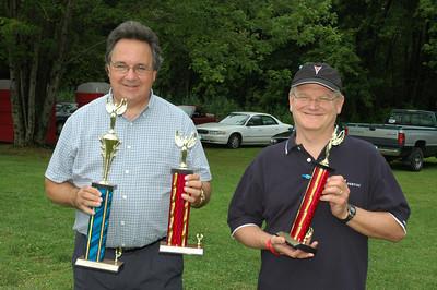 Six Nations Pontiac club president, Art Johnson (left), is accompanied by VP Jon Burdick who presented club awards at the Right Coast, Syracuse Nationals Picnic.