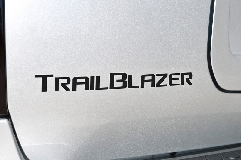 The 'Trailblazer' lettering is black vinyl in place of the stock chrome letters that I traced and had made. It is the exact size and spacing of the stock lettering.