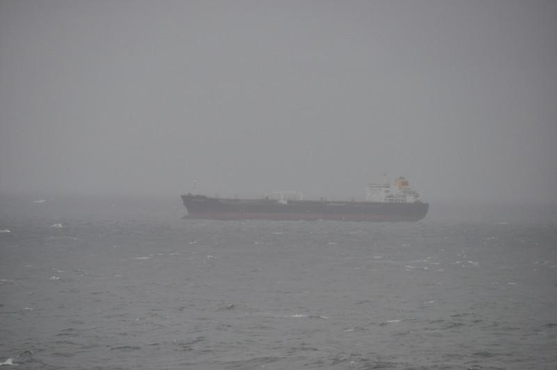 Ook bij IJmuiden schepen wachtend voor de kust