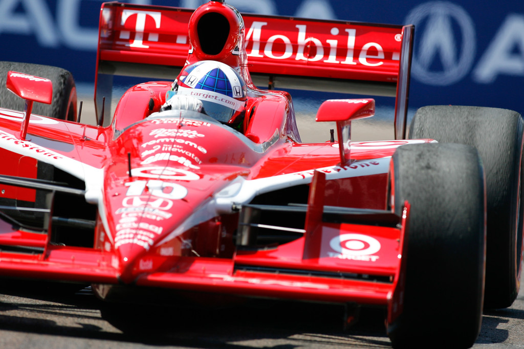 IZOD IndyCar driver Dario Franchitti of Target Chip Ganassi Racing (10) races down the track during the Honda Grand Prix of St. Petersburg.