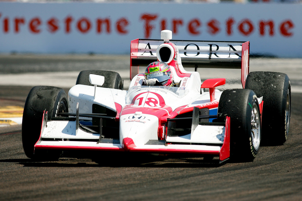 IZOD IndyCar driver James Jakes of Dale Coyne Racing (18) rounds turn #1 during the Honda Grand Prix of St. Petersburg.