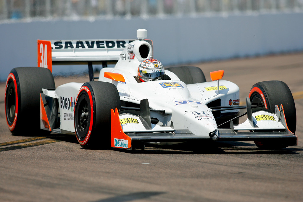 IZOD IndyCar driver Sebastian Saavedra of Conquest Racing (34) rounds turn #10 during the Honda Grand Prix of St. Petersburg.