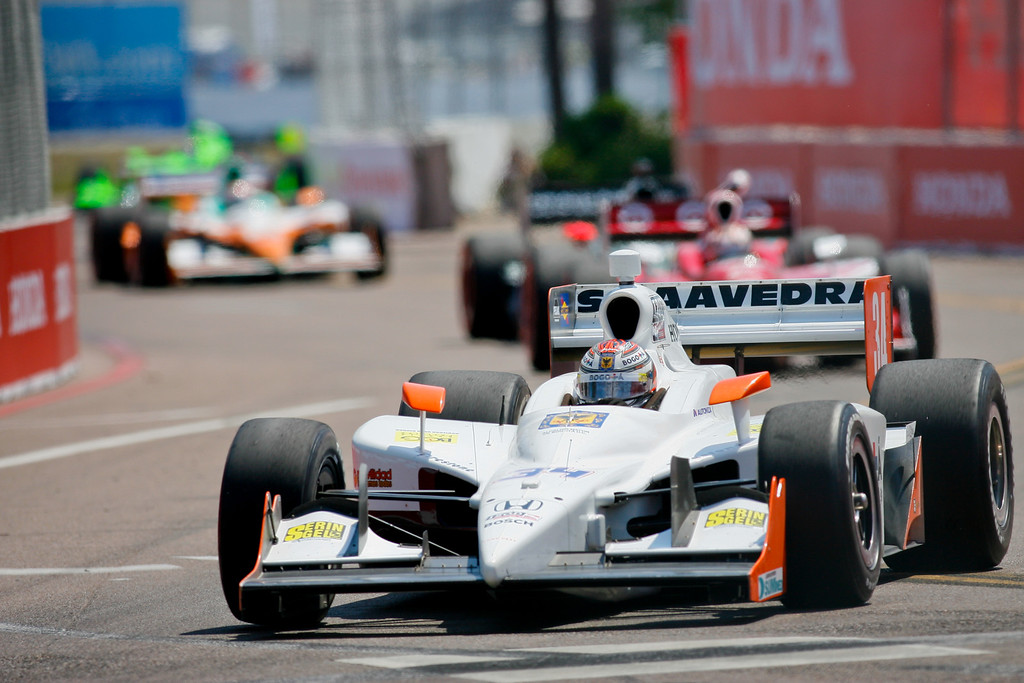 IZOD IndyCar driver Sebastian Saavedra of Conquest Racing (34) races around the track during Honda Grand Prix of St. Petersburg.