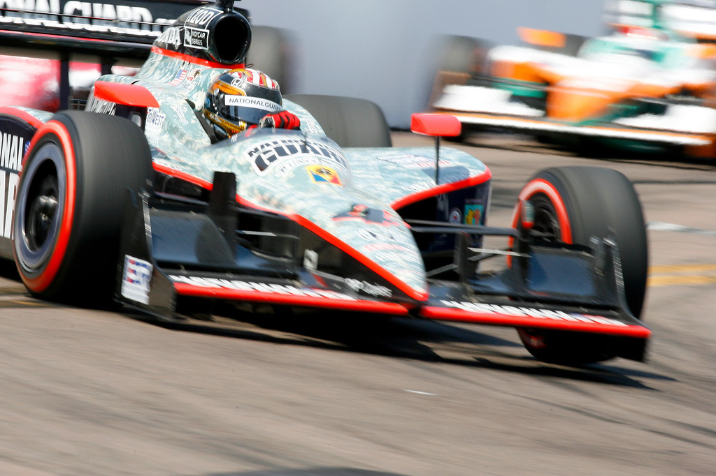 IZOD IndyCar driver J.R. Hildebrand of Panther Racing (4) rounds turn #10 during the Honda Grand Prix of St. Petersburg.