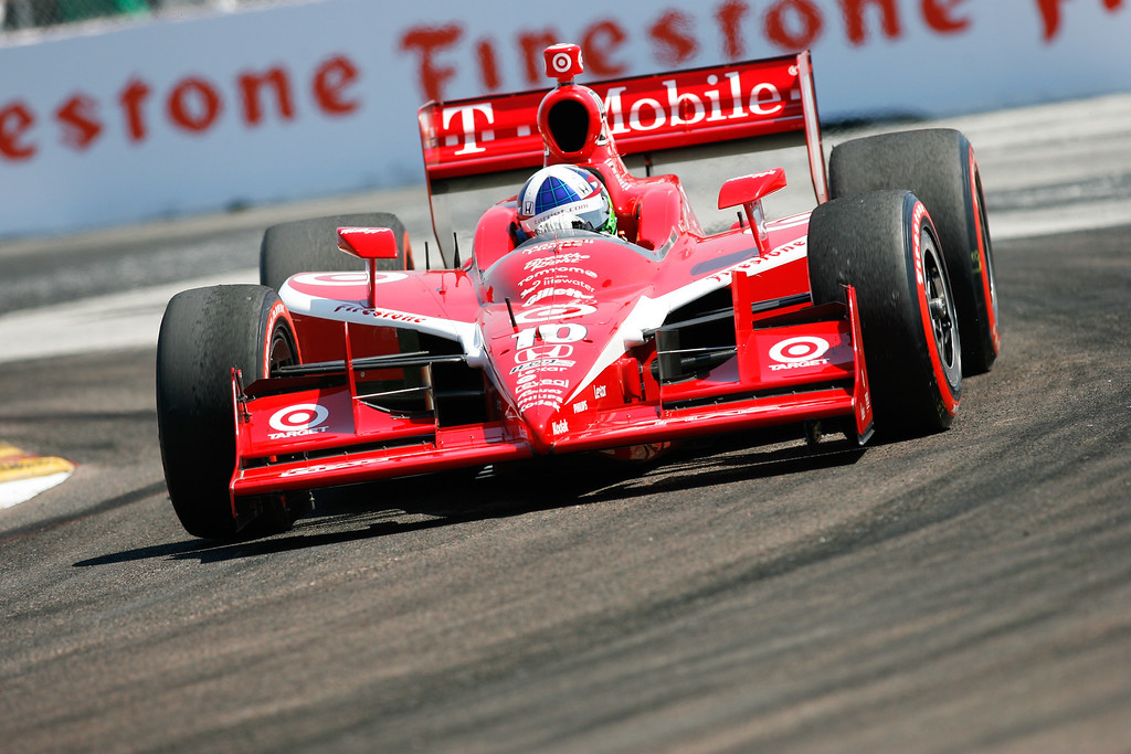 IZOD IndyCar driver Dario Franchitti of Target Chip Ganassi Racing (10) rounds turn #1 during the Honda Grand Prix of St. Petersburg.