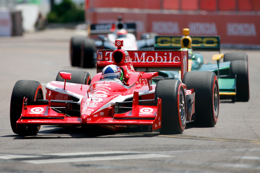 IZOD IndyCar driver Dario Franchitti of Target Chip Ganassi Racing (10) races around turn 2 during Honda Grand Prix of St. Petersburg.