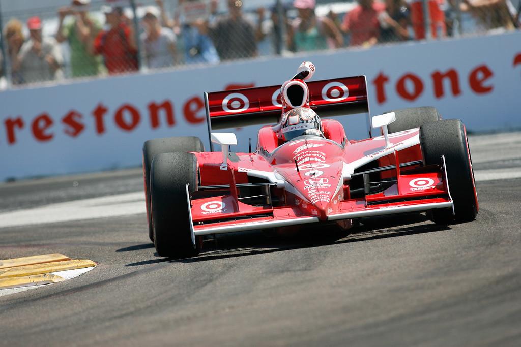 IZOD IndyCar driver Dario Franchitti of Target Chip Ganassi Racing (10) rounds turn #1 during Honda Grand Prix of St. Petersburg.