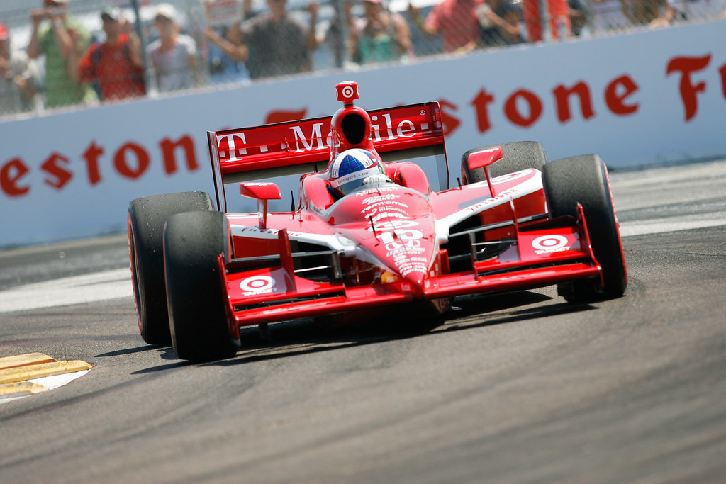 IZOD IndyCar driver Dario Franchitti of Target Chip Ganassi Racing (10) rounds turn #1 during Honda Grand Prix of St. Petersburg.