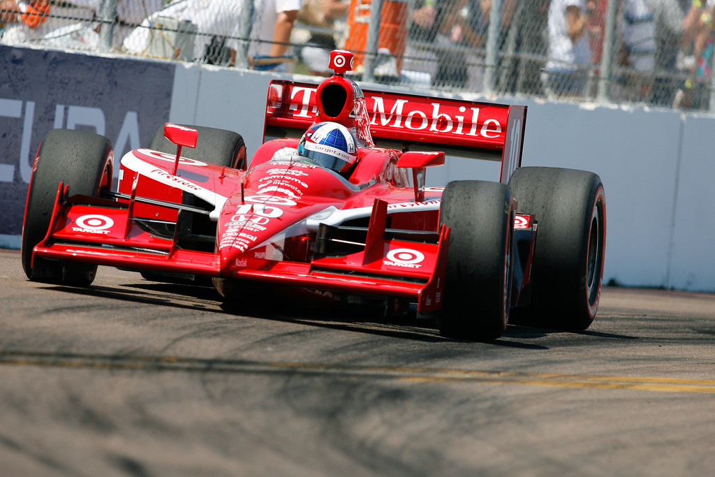 IZOD IndyCar driver Dario Franchitti of Target Chip Ganassi Racing (10) rounds turn #10 during the Honda Grand Prix of St. Petersburg.
