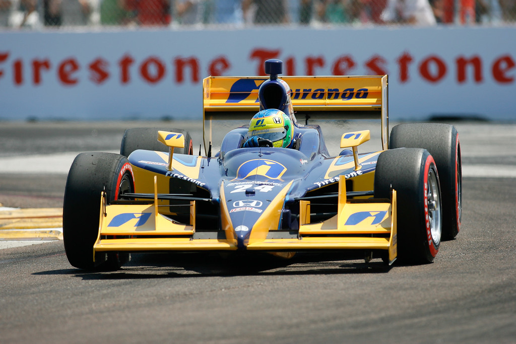 IZOD IndyCar driver Vitor Meira of A.J. Foyt Enterprises (14) rounds turn #1 during Honda Grand Prix of St. Petersburg.
