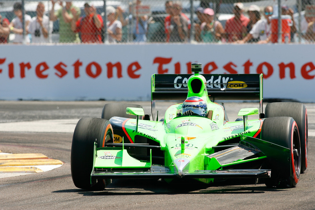 IZOD IndyCar driver Danica Patrick of Andretti Autosport (7) rounds turn #1 during Honda Grand Prix of St. Petersburg.