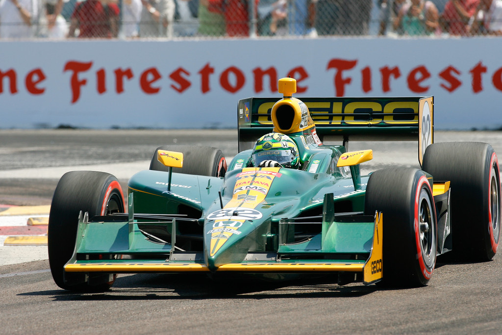IZOD IndyCar driver Tony Kanaan of KV Racing Technology-Lotus (82) rounds turn #1 during Honda Grand Prix of St. Petersburg.