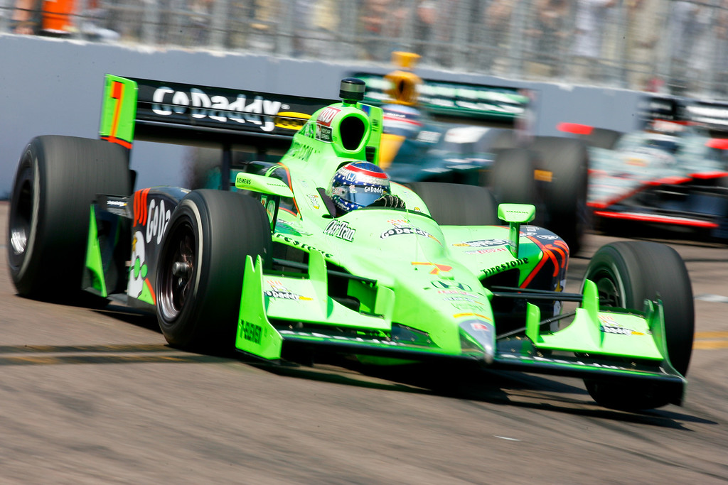 IZOD IndyCar driver Danica Patrick of Andretti Autosport (7) rounds turn #10 during the Honda Grand Prix of St. Petersburg.