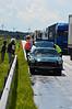 Derde keer afgeslagen op de Duitse Autobahn. Techneuten er bij om weer aan de praat te krijgen.<br /> (C) Jan Sertons