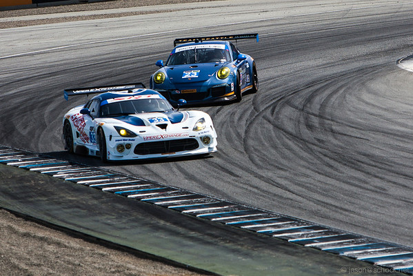 The #33  Viper Exchange GT3R gets a little loose at Turn 11.