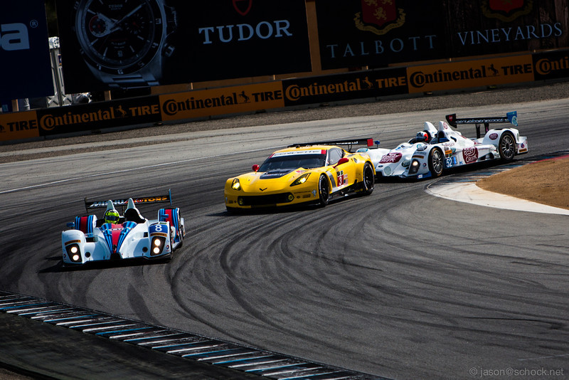 The #8 Prototype Challenge car with classic Martini livery, followed by the Corvette GTLM.