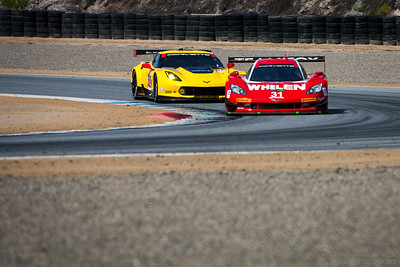 The #31 Marsh Racing Daytona Prototype leads the Corvette C7.R GTLM car.