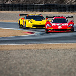 The #31 Marsh Racing Daytona Prototype leads the Corvette C7.R GTLM car.