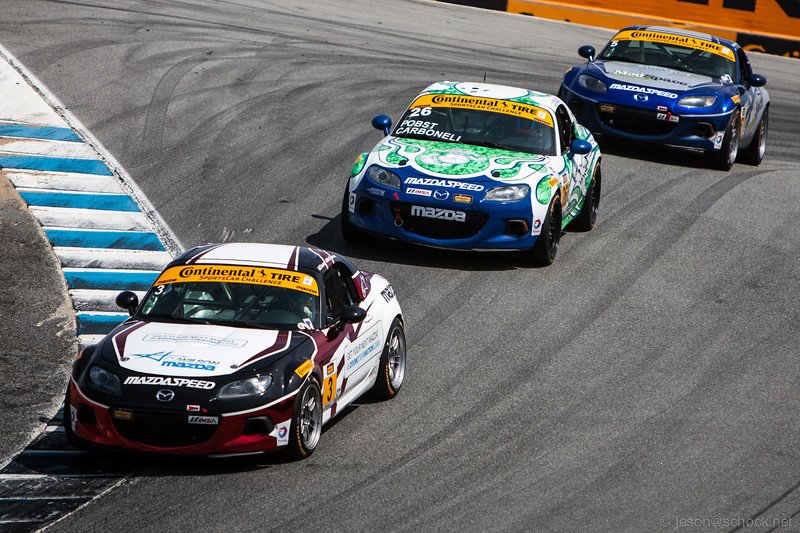 The ST class leaders, all driving Mazda MX-5's, in a tight battle for the lead.