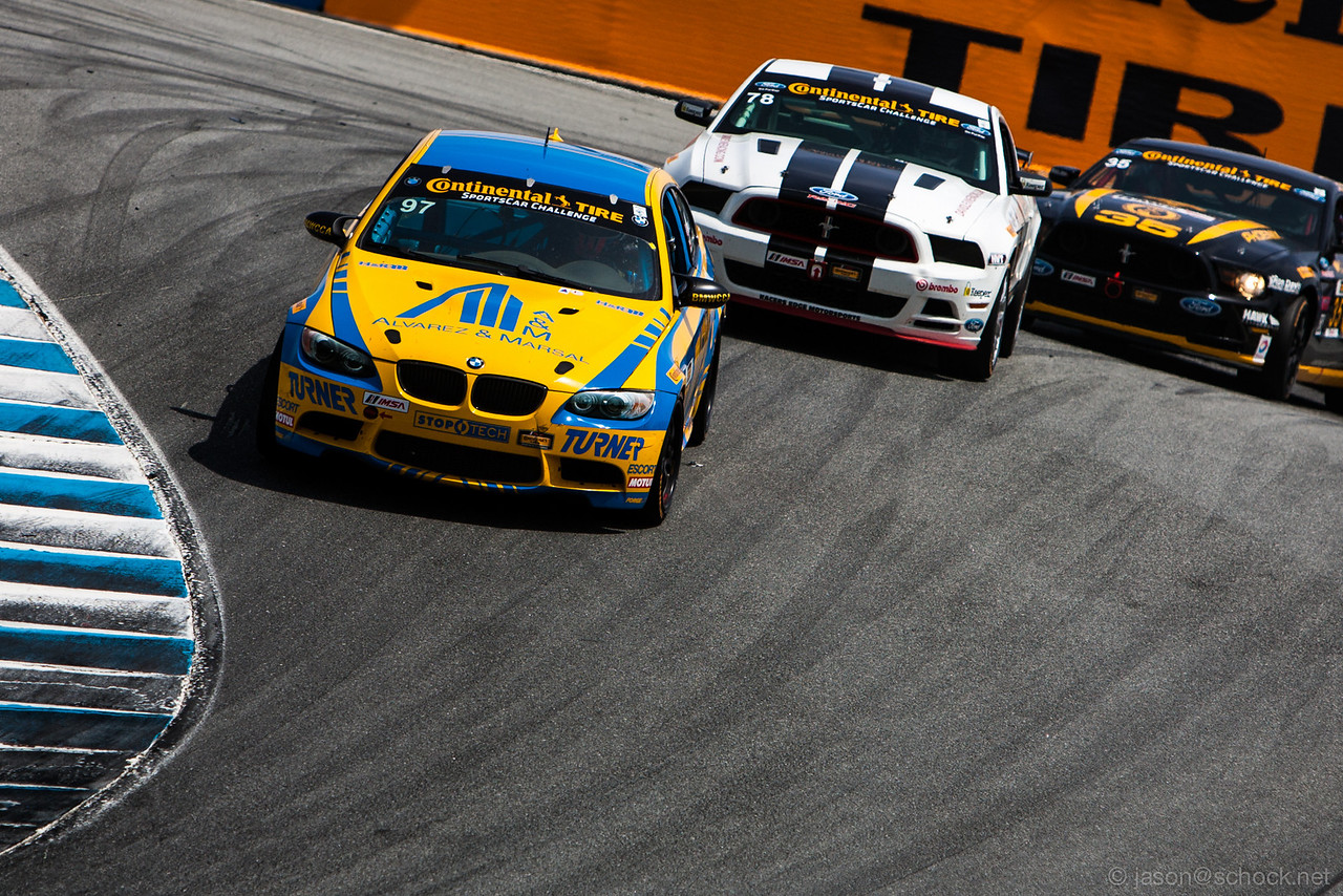 The #97 Turner Motorsports M3 barrels through The Corkscrew.