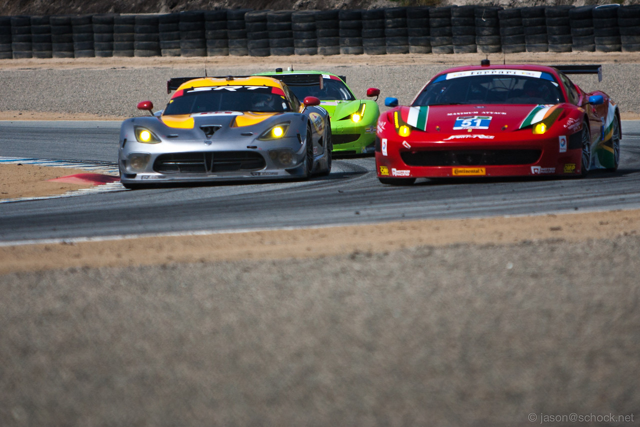 Tight racing between the factory SRT Viper and AF Corse Ferrari 458 Italia.