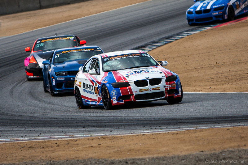 Fall-Line Motorsports #46 BMW M3 and ultimate race winner at Turn 5 of Laguna Seca.