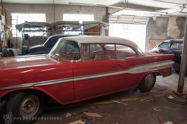 A nearly complete project is a full interior in this 1957 Pontiac.
