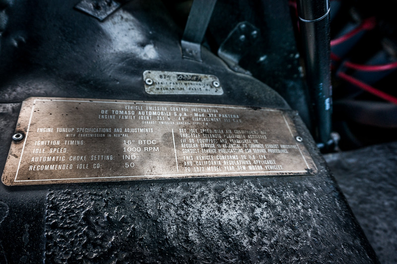 1972 Ford Pantera Information Plates