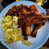 Some good eats right here. Chicken, ribs, bologna, beans and mac n cheese.
