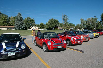 About 10 MINIs including a right-hand drive Classic queue up for the Ride the Rockies portion of the 25th Colorado English Motoring Conclave, Sept. 13, 2008.