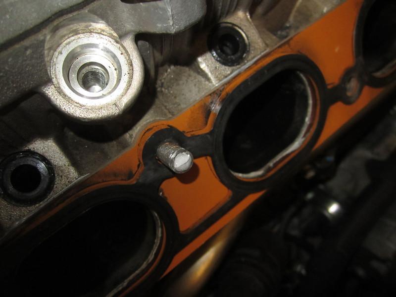 Stud 2 broken at manifold.