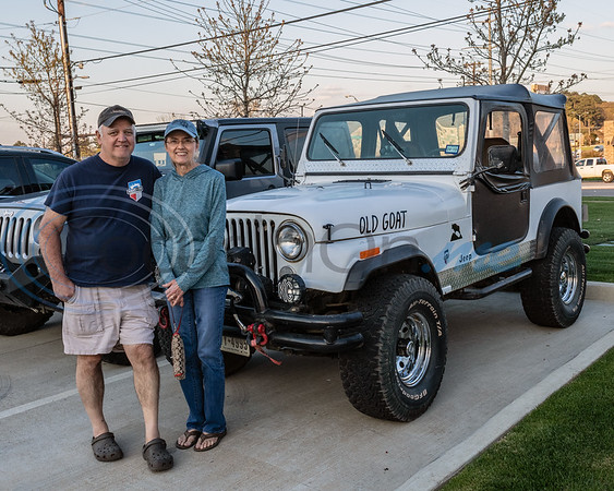 Joe and Ann Slaughter show off their  Jeep at the 2019 East Texas Jeep Club Cruise-In, held at the Grub Burger Bar, in Tyler, Tx. Tuesday, March 19,  2019. (Rick Flack/Freelance)