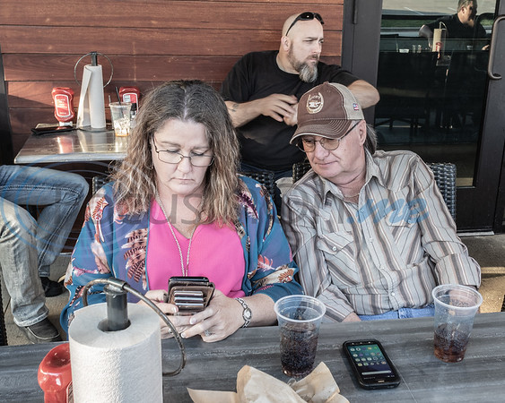 Visitors to the 2019 East Texas Jeep Club Cruise-In, Stephanie Black (L) and Gaylon Gradick (R). Held at the Grub Burger Bar, Tuesday March 19, 2019, in Tyler, Tx. (Rick Flack/Freelance)