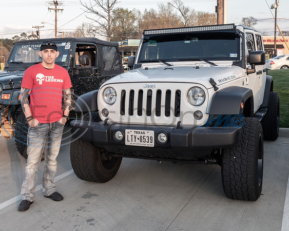 Ashton Gwaltney and his Jeep at the 2019 East Texas Jeep Club Cruise-In, held at the Grub Burger Bar, in Tyler, Tx. Tuesday, March 19,  2019. (Rick Flack/Freelance)
