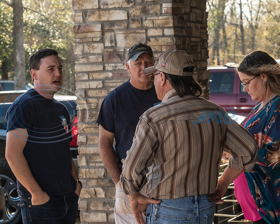 (L-R) Chris Chambless, Joe Slaughter, Gaylon Gradick, and Stephanie Black discuss Jeep's at the 2019 East Texas Jeep Club Cruise-In, held at the Grub Burger Bar, in Tyler, Tx. Tuesday, March 19,  2019. (Rick Flack/Freelance)