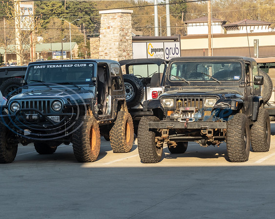 Two of the many Jeep's at the 2019 East Texas Jeep Club Cruise-In, held at the Grub Burger Bar in Tyler, on Tuesday, March 19, 2019. (Rick Flack/Freelance)