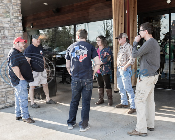 Club members and visitors discussing Jeep's at the 2019 East Texas Jeep Club Cruise-In, held at the Grub Burger Bar March 19, 2019, in Tyler, TX. (Rick Flack/Freelance)